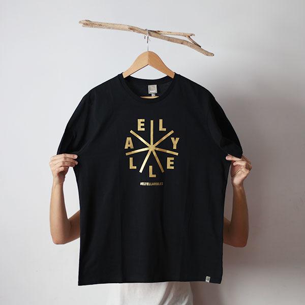 Camiseta Chico negra Bench DORADA